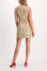 Back Image of Model Wearing Lindsey Embellished Structured Dress