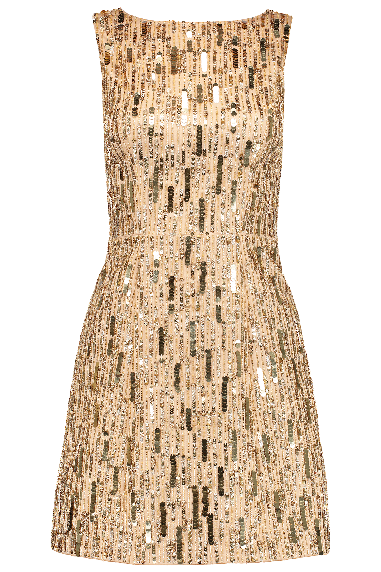 Front Image Lindsey Embellished Structured Dress Gold Sequins