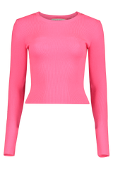 Front view image of Alice & Olivia Long Sleeve Ciara Cropped Pullover