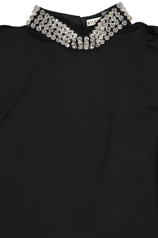 Front collar detail image of Alice & Olivia Long Sleeve Inka Embellished Dress