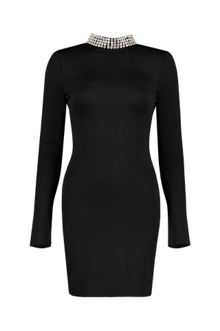 Front view image of Alice & Olivia Long Sleeve Inka Embellished Dress