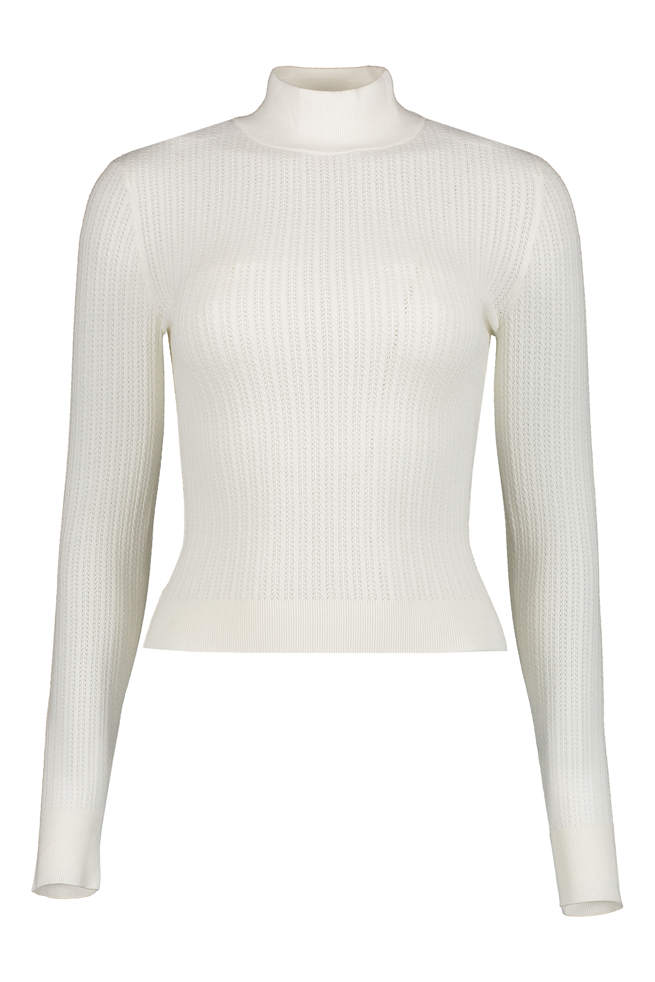 Front view image of Alice & Olivia Long Sleeve Lanie High Neck Pullover
