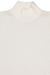 Front collar detail image of Alice & Olivia Long Sleeve Lanie High Neck Pullover