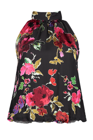 Front view image of Alice & Olivia Maris Halter Blouse