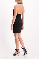 Back Crop Image Of Model Wearing Marx Halter Neck Drape Dress