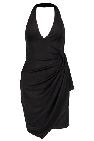 Front Image Marx Halter Neck Drape Dress