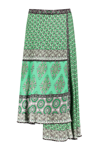 Nanette Mock Wrap Midi Skirt Jade Multi
