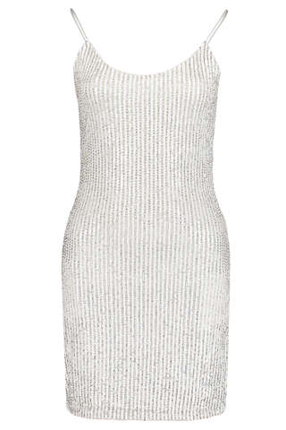 Nelle Embellished Fitted Mini Dress White
