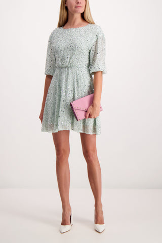 Full Body image of Alice & Olivia Palmira Blouse Sleeve Dress Venus Blue