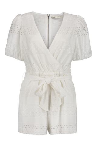 Paulina Front Wrap Puffed Sleeve Romper Off White