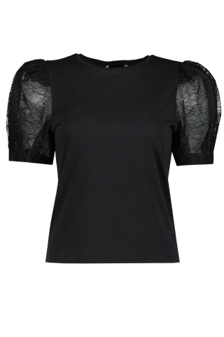 Posey Puff Sleeve Tee Black