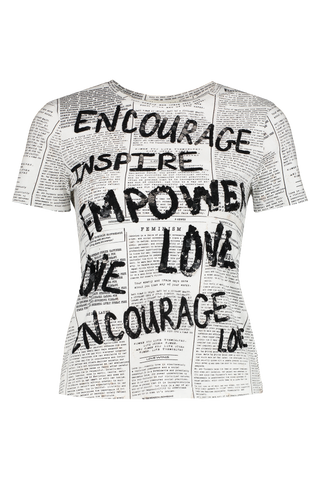 Front view image of Alice & Olivia Rylyn Embellished Crewneck Top Newspaper