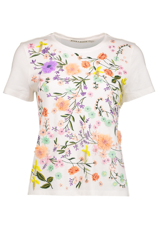 Front image of Alice & Olivia Short Sleeve Rylyn Embellished Shirt