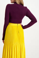 Back Crop Image Of Model Wearing Alice & Olivia Women's Sophie Cutout Turtleneck Merlot
