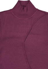 Front collar detail image of Alice & Olivia Women's Sophie Cutout Turtleneck Merlot