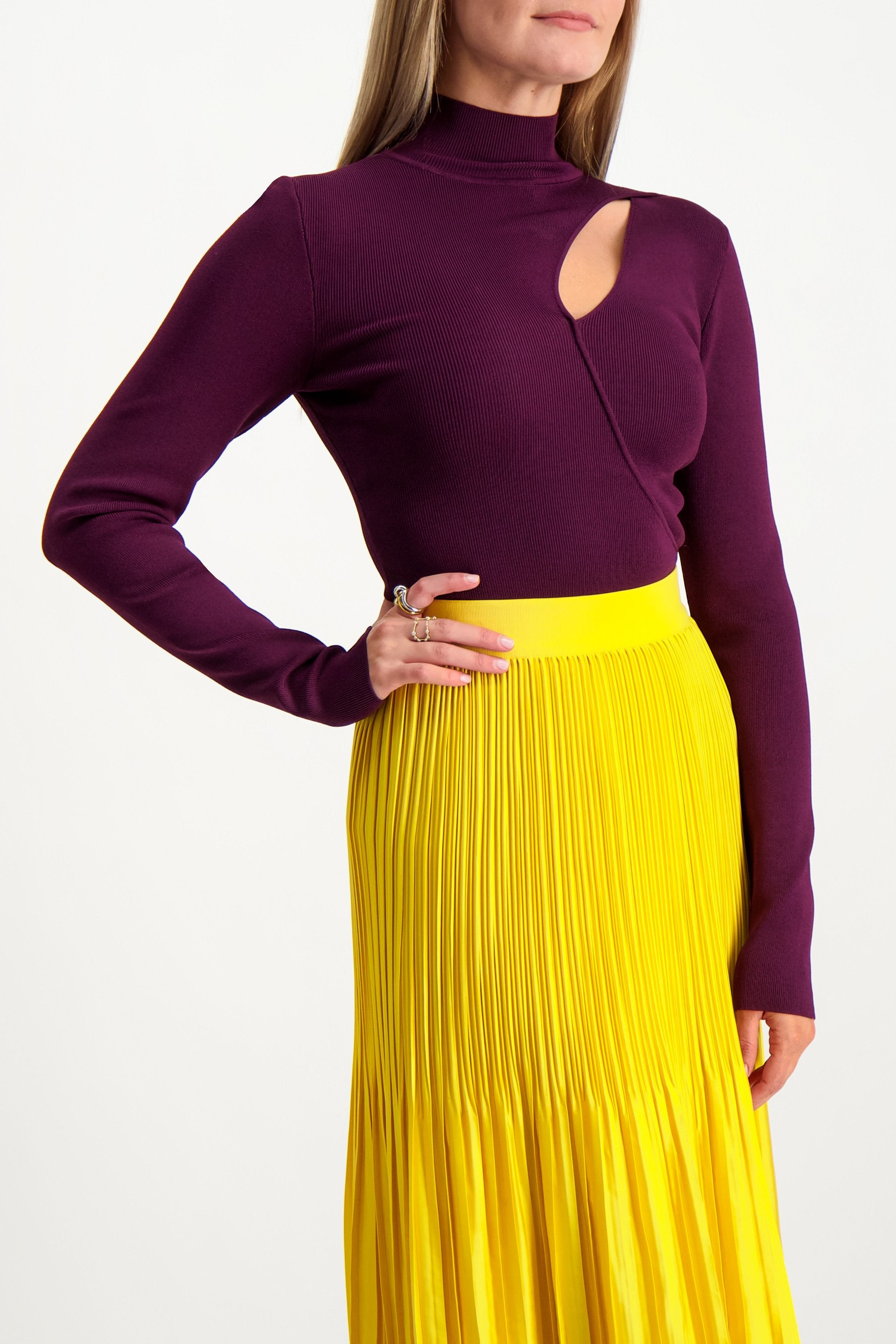 Front Crop Image Of Model Wearing Alice & Olivia Women's Sophie Cutout Turtleneck Merlot