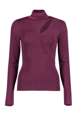 Front view image of Alice & Olivia Women's Sophie Cutout Turtleneck Merlot