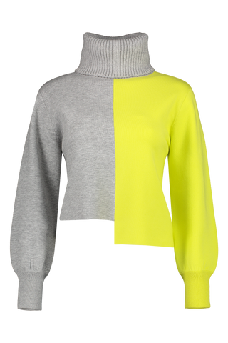 Front view image of Alice & Olivia Spencer Asymmetrical Turtleneck Sweater