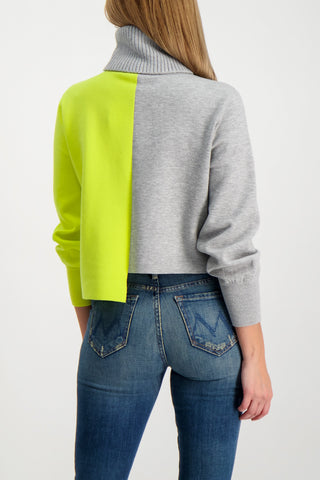 Back Crop Image Of Model Wearing Alice & Olivia Spencer Asymmetrical Turtleneck Sweater