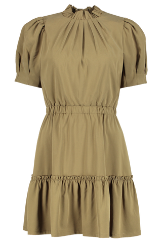 Front view image of Alice & Olivia Vida Puff Sleeve Tiered Ruffle Dress