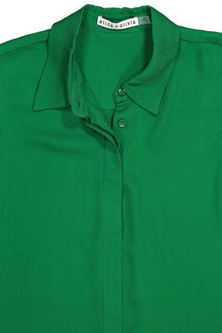 Front collar detail image of Alice & Olivia Willa Placket Top Basil