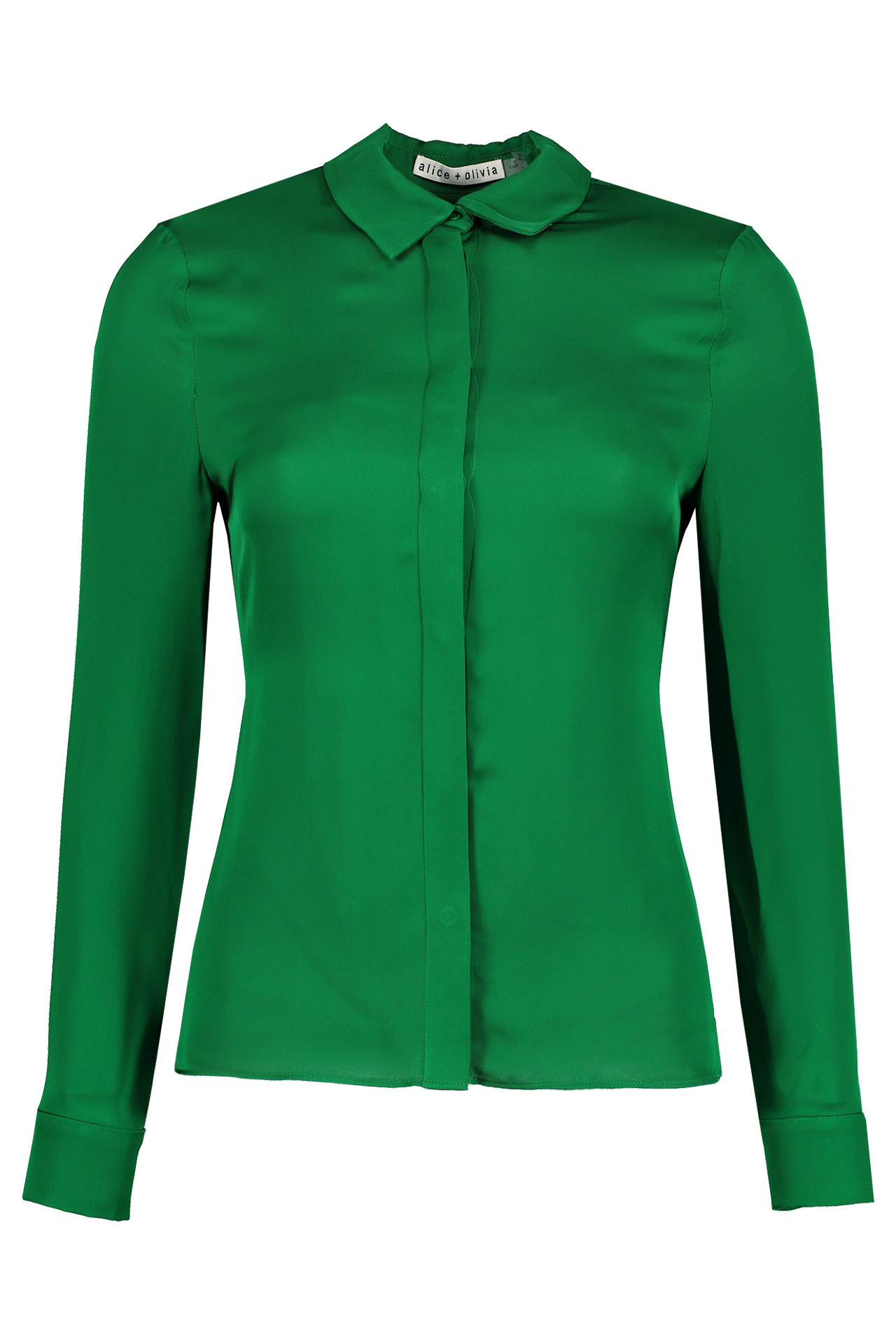 Front view image of Alice & Olivia Willa Placket Top Basil