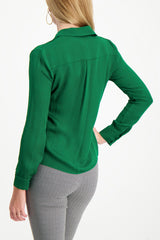 Back Crop Image Of Model Wearing Alice & Olivia Willa Placket Top Basil