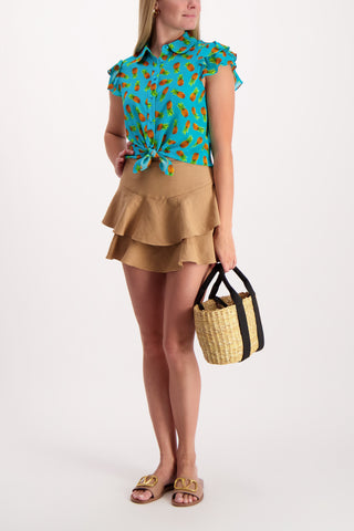 Full Body Image Of Model Wearing Ziggy Ruffle Cap Sleeve Blouse