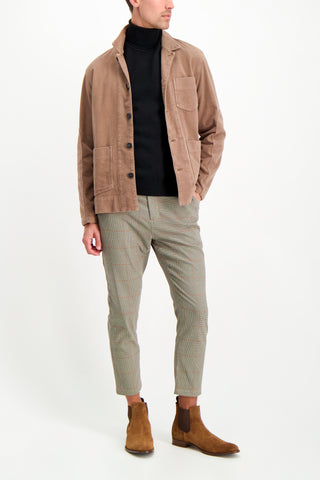 Full Body Image Of Model Wearing Altea Cotton Moleskin Jacket