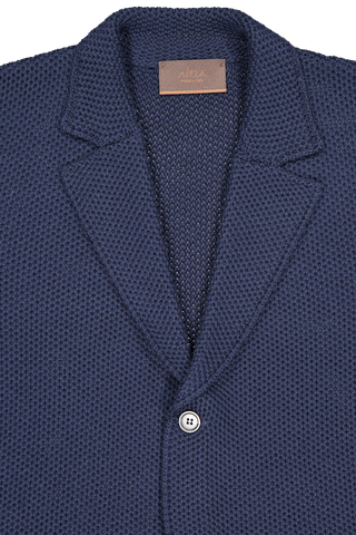 Front collar and lapel detail image of Altea Men's Knit Sweater Jacket Blue