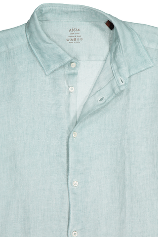 Linen Garment Dyed Shirt Green
