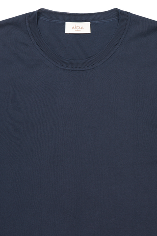 Front collar detail image of Altea Men's Navy Cotton Sweater