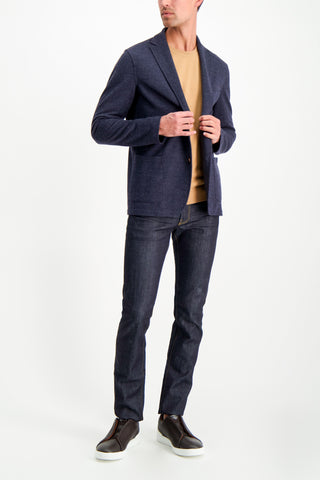 Full Body Image Of Model Wearing Altea Men's Wool Cashmere Brush Crew Camello