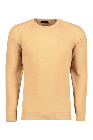 Front view image of Altea Men's Wool Cashmere Brush Crew Camello