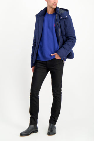 Full Body Image Of Model Wearing Altea Wool Cashmere Crew Bluette