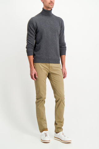 Full Body Image Of Model Wearing Altea Men's Wool Cashmere Turtleneck Grigio Scuro