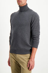 Front Crop Image Of Model Wearing Altea Men's Wool Cashmere Turtleneck Grigio Scuro