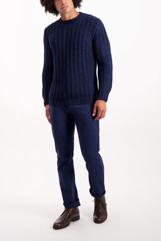 Full Body Image Of Model Wearing Altea Wool Crew Blend Sweater