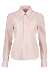 Front view image of AMI Women's Long Sleeve Classic Fit Shirt Pink/White