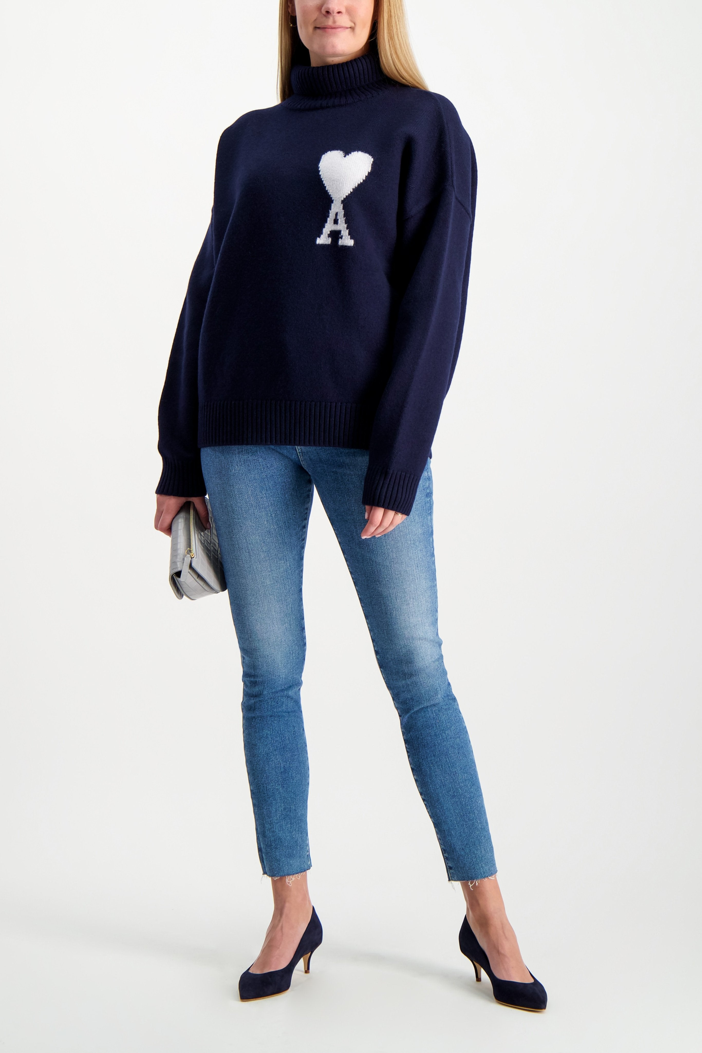 Full Body Image Of Model Wearing Women's Oversized Ami Pullover