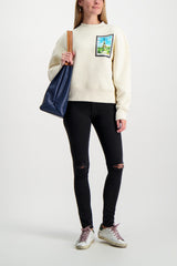 Full Body Image of Model Wearing AMI Women's Postcard Sweatshirt