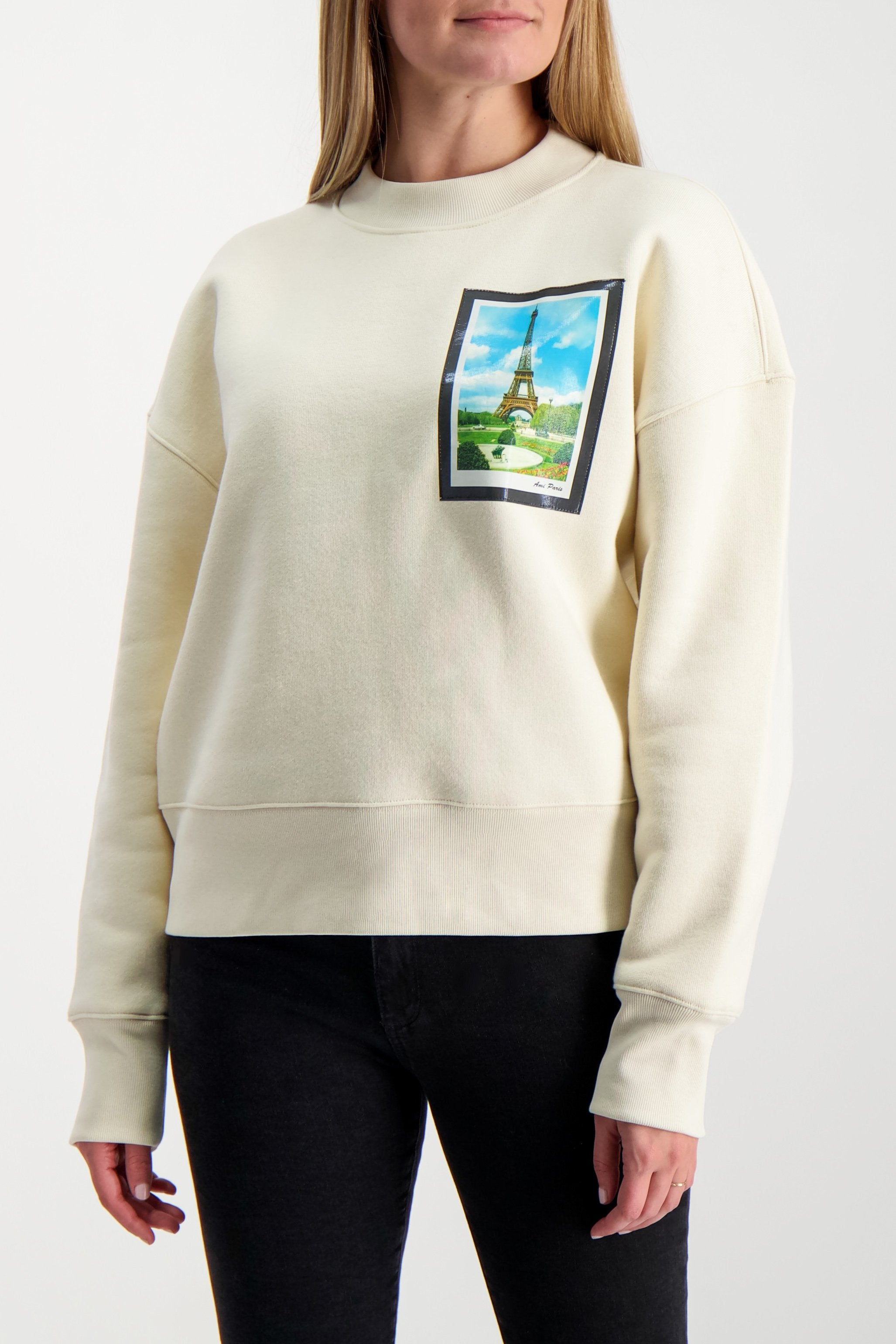 Front Crop Image of Model Wearing AMI Women's Postcard Sweatshirt