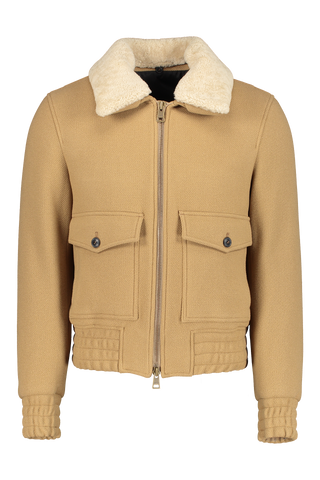 Front view image of AMI Men's Shearling Trimmed Aviator Bomber Jacket