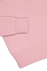 Hemline and cuff detail image of AMI Women's V-Neck Oversized Pullover Pink