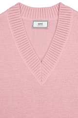 Front collar detail image of AMI Women's V-Neck Oversized Pullover Pink