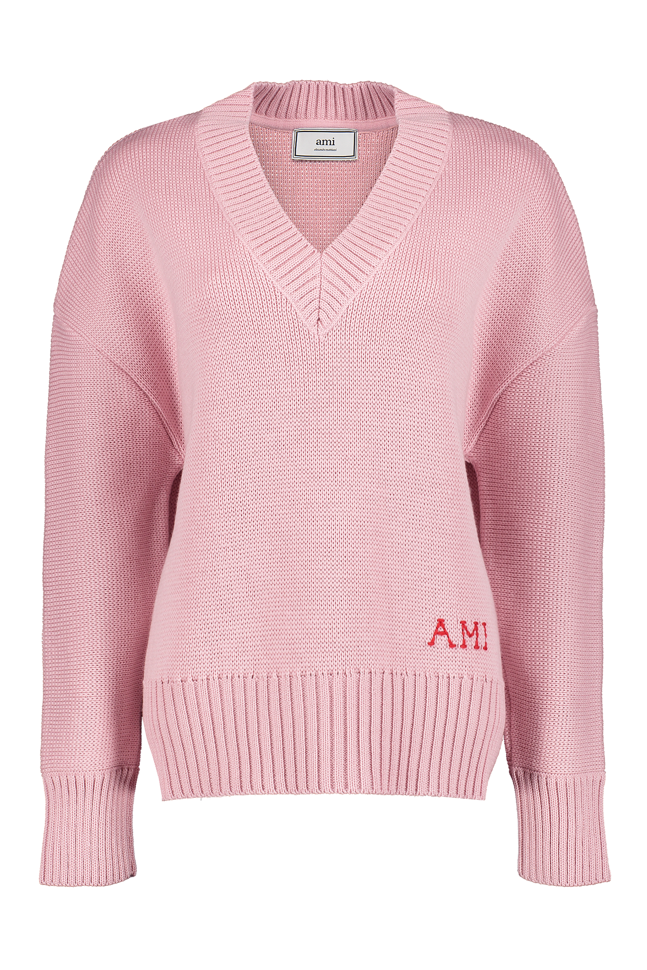 Front view image of AMI Women's V-Neck Oversized Pullover Pink
