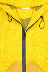 Front collar and zipper detail image of Anne Vest Hoodie Shearling Coat Yellow