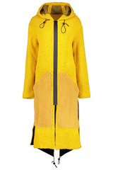 Front view image of Anne Vest Hoodie Shearling Coat Yellow