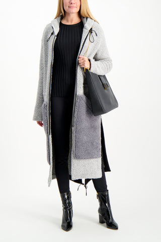 Full Body Image Of Model Wearing Anne Vest Hoodie Shearling Coat Grey