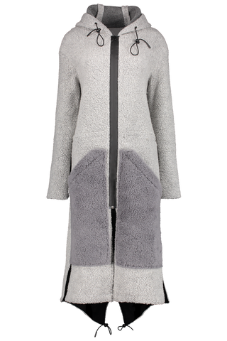 Front view image of Anne Vest Hoodie Shearling Coat Grey